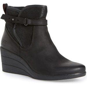 UGG Emalie Waterproof Wedge Booties Dark Brown 5